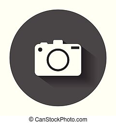 Camera flat vector icon. Illustration with long shadow.