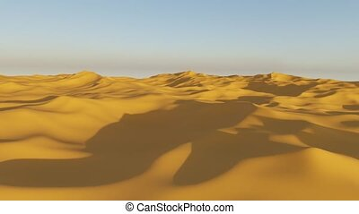 Camera flight over a desert, drought, heat or global warming concept, 3d animation