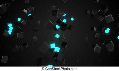 camera flying around glowing cubes loop