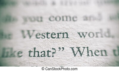 Camera focus on western world text