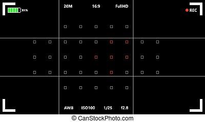 Camera focusing screen vector illustrations. Camera...