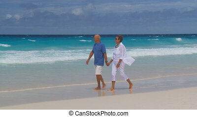 pan shot of senior couple walking hand in hand on wet beach, wonderful wavy ocean