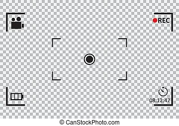 Camera frame viewfinder on a transparent background. Vector illustration