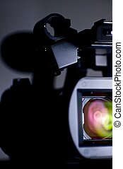 Camera Front. HD Camcorder - Front View with Colorful Lights...