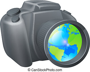 Camera globe concept, camera with globe in lens, could be ...