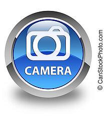 Camera glossy blue round button