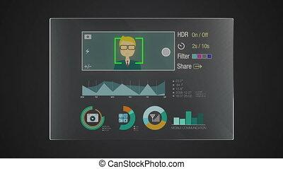 'camera', graphique, information, application, utilisateur, numérique, interface, technologie, exposer, panneau