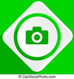 camera green flat icon