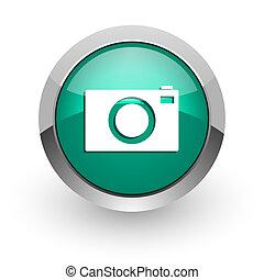camera green glossy web icon