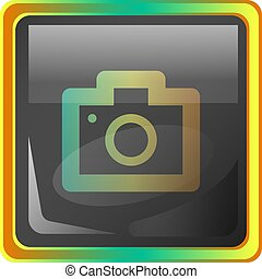 Camera grey square vector icon illustration with yellow and green details on white background