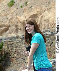 Camera Happy Tourist at Gibbon Falls