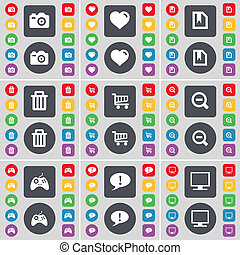 Camera, Heart, File, Trash can, Magnifying glass, Gamepad, Chat bubble, Monitor icon symbol. A large set of flat, colored buttons for your design.