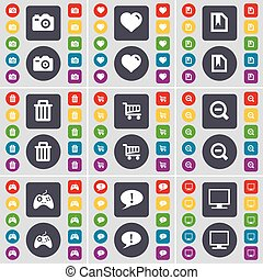 Camera, Heart, File, Trash can, Magnifying glass, Gamepad, Chat bubble, Monitor icon symbol. A large set of flat, colored buttons for your design. Vector
