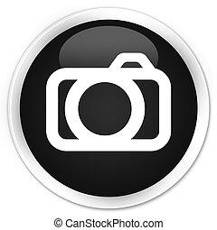 Camera icon black glossy round button