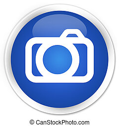 Camera icon blue glossy round button