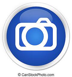 Camera icon blue glossy round button