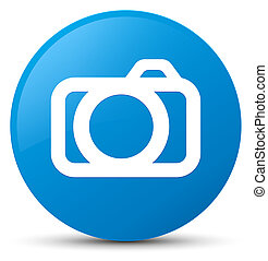 Camera icon cyan blue round button