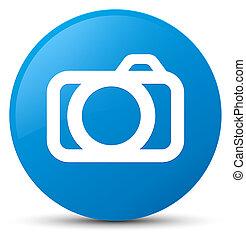 Camera icon cyan blue round button