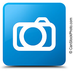 Camera icon cyan blue square button