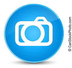 Camera icon elegant cyan blue round button
