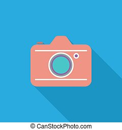 Camera icon. Flat vector related icon with long shadow for ...