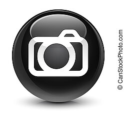 Camera icon glassy black round button