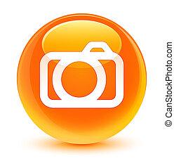Camera icon glassy orange round button