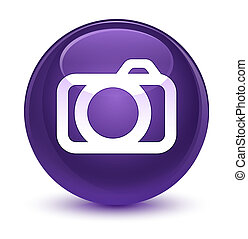 Camera icon glassy purple round button