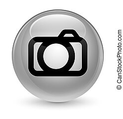 Camera icon glassy white round button
