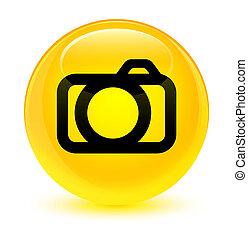 Camera icon glassy yellow round button