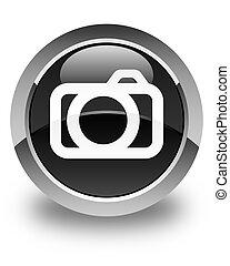 Camera icon glossy black round button