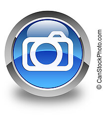 Camera icon glossy blue round button