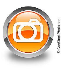 Camera icon glossy orange round button