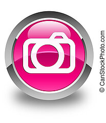 Camera icon glossy pink round button
