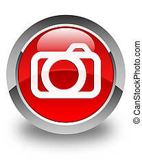 Camera icon glossy red round button