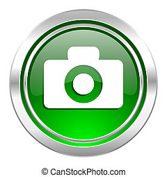 camera icon, green button