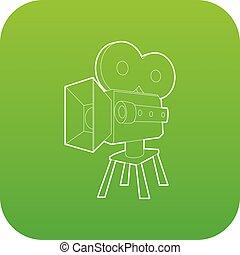 Camera icon green vector