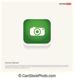 Camera Icon Green Web Button
