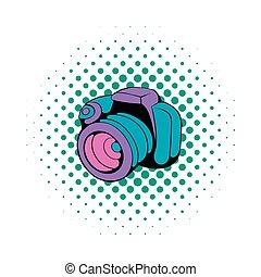 Camera icon in comics style