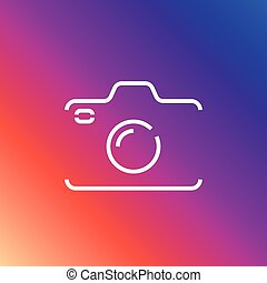 Camera icon in trendy flat style isolated on colored background camera symbol for your web site. Editable Stroke