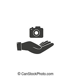 Camera Icon in trendy flat style isolated on grey background. Camera symbol for your web site design, logo, app, UI. Vector illustration,