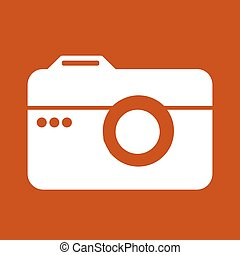 Camera icon in trendy flat style isolated on red background. Vector illustration.