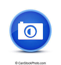 Camera icon isolated on special blue round button abstract
