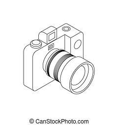 Camera icon, isometric 3d style