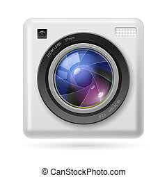 Camera icon lens - White Camera icon Lens. Illustration on...