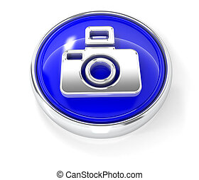 Camera icon on glossy blue round button