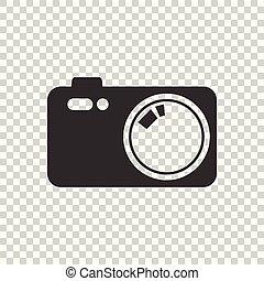 Camera icon on isolated background. Flat vector illustration.