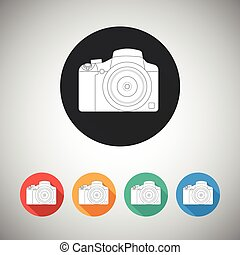 Camera icon on round background with long shadow
