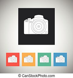 Camera icon on square background