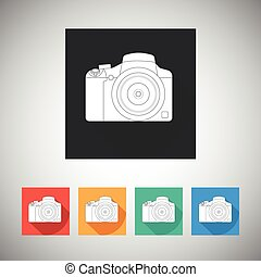 Camera icon on square background with long shadow